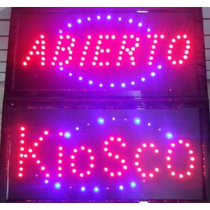 CARTEL LED KIOSCO Y ABIERTO